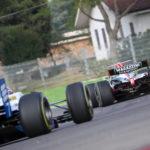 Stratford (Benetton F1) follows a MM International GP2 car