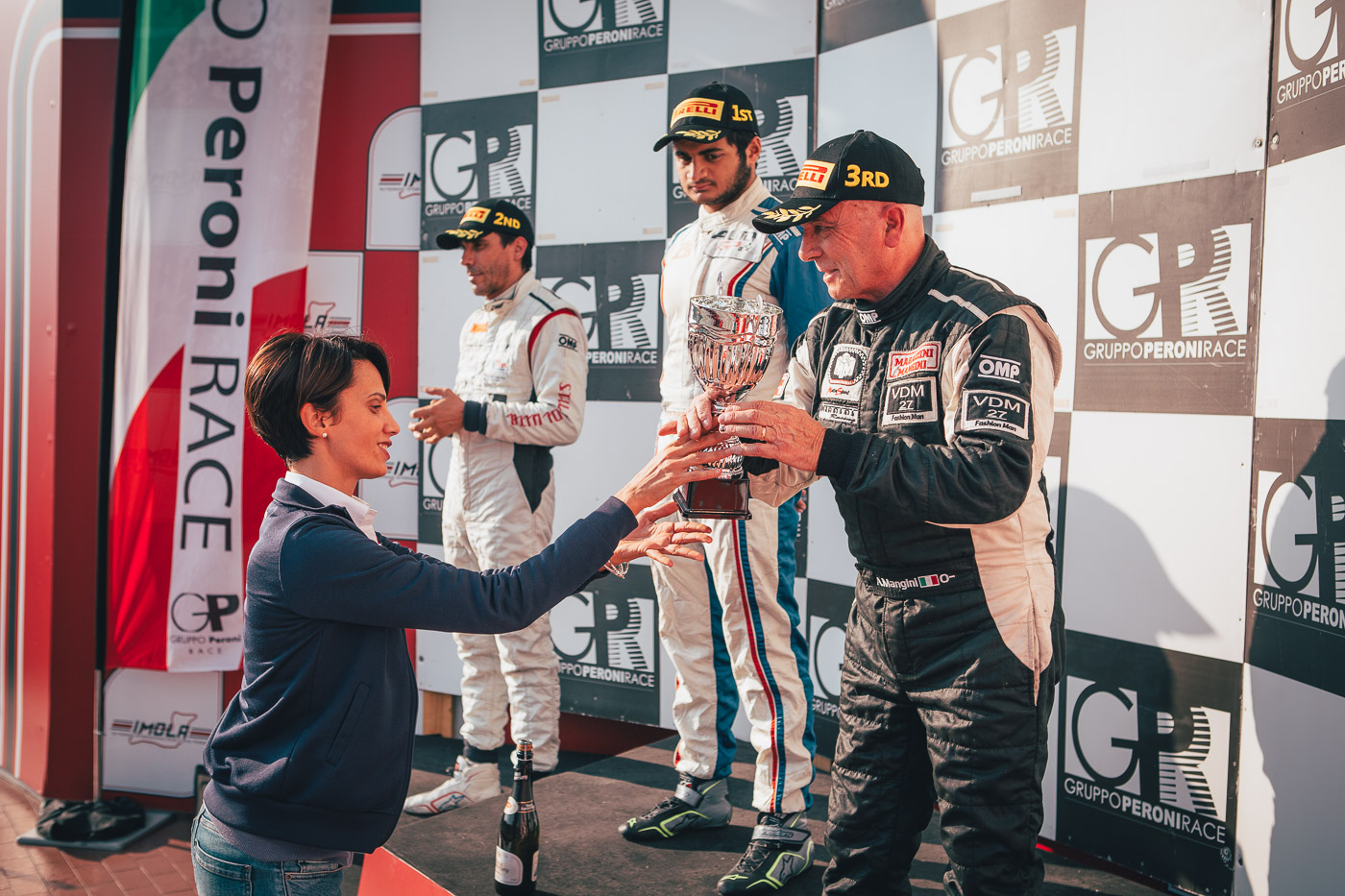 Podium ceremony of seasonrace 13 in Imola 2017.