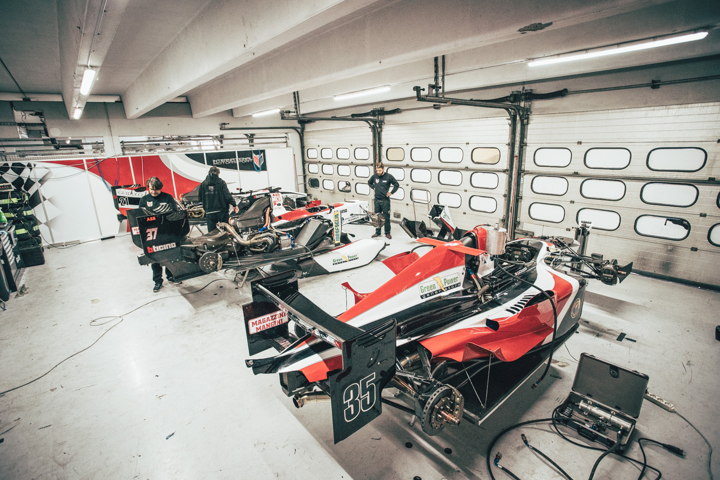 GP2 cars from MM International in the pit garage