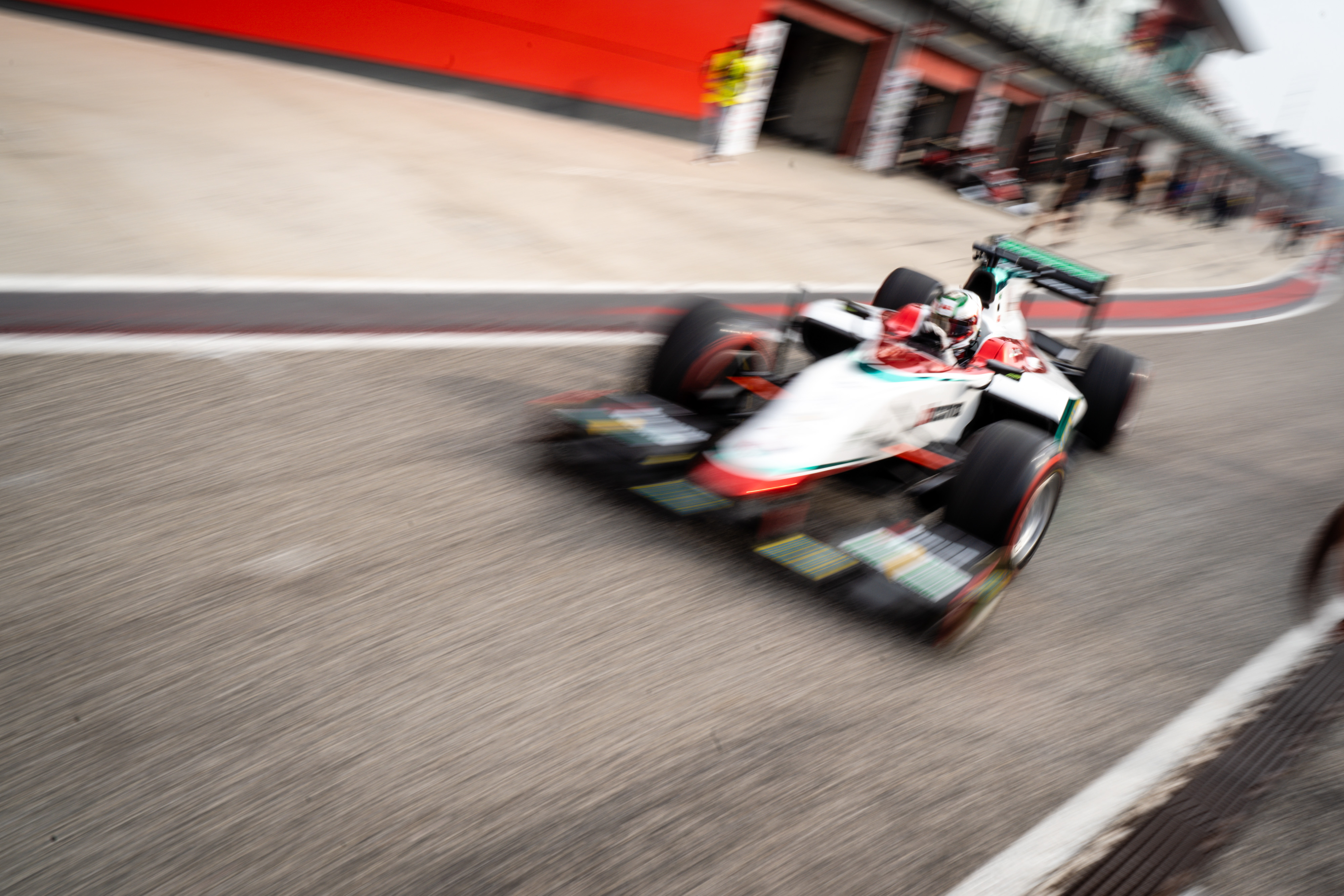Luca Martucci in his GP2 drives down the pit lane